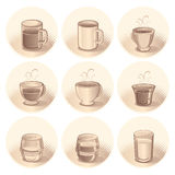 Cups and Mugs. Illustration of Cups, Mug and Glasses(vector available Royalty Free Stock Photo