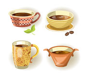 Cups, mugs and bowls different shape drink or food dish vector icons. Cups, mugs and bowls of different shape for coffee or tea drink with ornament for cafe or Royalty Free Stock Photos
