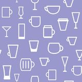 Cups and mugs pattern. Cups and mugs. Seamless vector pattern Royalty Free Stock Photos
