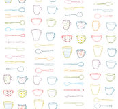 Cups Mugs Silverware Outline Seamless Pattern. Hand drawn ornate dishes and dinnerware backdrop illustration Royalty Free Stock Photos
