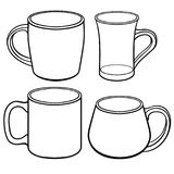 Cups and mugs for tea of different shapes. A set of templates. Line drawing. For coloring. Linear pattern, a set of cups and mugs of various shapes and sizes royalty free illustration