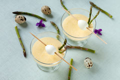 Cups With Mustard Mayonnaise With Quail Eggs Royalty Free Stock Images