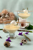 Cups With Mustard Mayonnaise And Quail Eggs Royalty Free Stock Images