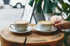 Free Cups Of Aromatic Coffee Cappuccino Royalty Free Stock Photography - 168144437