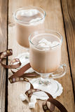 Cups Of Hot Chocolate With Marshmallows Stock Photos