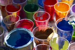 Free Cups Of Paint With Many Colors Stock Photos - 189343743