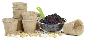 Cups peat bowl scoop Royalty Free Stock Images