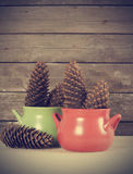 Cups and pine corn Stock Photo