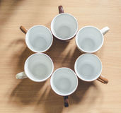 Cups placed a circle royalty free stock photography
