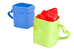 cups plastic hjärtor Royaltyfria Foton