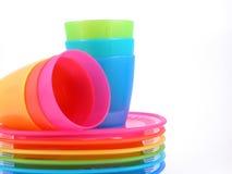 cups plastic plattor Royaltyfria Foton