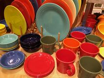 Cups and plates line up Stock Photo