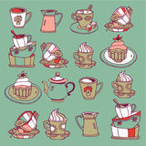Cups and Pots. Vector illustration of cups, saucers, mugs, pots, carafes and cakes Royalty Free Stock Photography