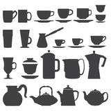 Cups And Pots silhouette set. Vector coffee tea Cups And Pots silhouette set Stock Photos