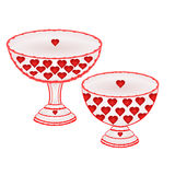Cups  with red hearts  vector Royalty Free Stock Photography