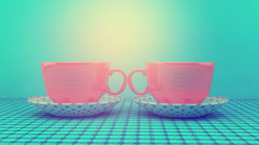 Cups. With retro instagram filter Stock Images