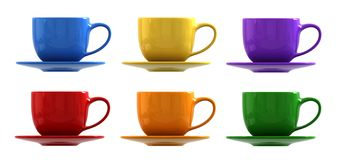 Cups and saucers. 3D render of cups and saucers Royalty Free Stock Images