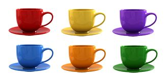 Cups and saucers. 3D render of cups and saucers Stock Illustration
