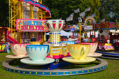 Cups and saucers fairground ride. A colouful cups and saucers revolving fairground ride at Rotherham show 2015 Stock Photography