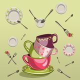 Cups with saucers, forks and spoons. Kitchen design set with cups, saucers, forks and spoons Stock Photo