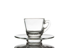 Cups and saucers small glass. Stock Photo