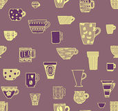 Cups seamless background Stock Images
