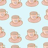 Cups seamless pattern shabby chic hand drawn style. Vector Royalty Free Stock Image