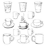Cups set. Vector illustration of coffee cups Royalty Free Stock Photography