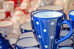 Set of blue tea cups Stock Images