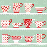 Cups set with hearts Royalty Free Stock Image