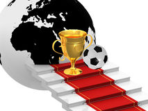 Cups with soccer ball. On the ladders with red carpet Royalty Free Stock Photos