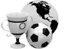 Cups with soccer ball and Earth. On white background Royalty Free Stock Photo