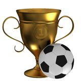 Cups with soccer balls Royalty Free Stock Image