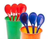 Cups and spoons Royalty Free Stock Image