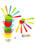 Cups and spoons Royalty Free Stock Images