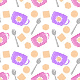 Cups, spoons and biscuits seamless vector pattern Stock Photo