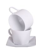 Cups Stacked on White Stock Photos
