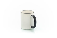 Cups for sublimation of different shapes and colors on a white background Royalty Free Stock Images