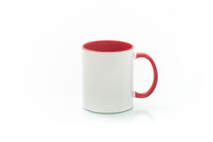 Cups for sublimation of different shapes and colors on a white background Royalty Free Stock Photography