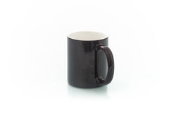 Cups for sublimation of different shapes and colors on a white background Stock Photos