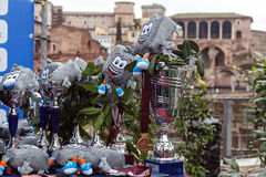 Cups and symbol of the Rome Marathon. Royalty Free Stock Images