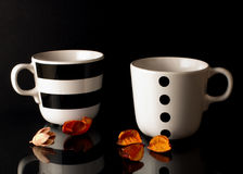 A cups of tea on a black background. Two tea cups on a black background with dried flowers Stock Image