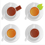 Cups with tea and coffee Stock Image