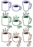 Cups of tea and coffee Stock Images