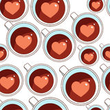 Cups with tea. Coffee and heart inside. Seamless pattern Stock Photography