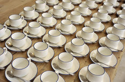 Cups. Tea or coffee cups in lines ready for a meeting refreshment break Royalty Free Stock Photos