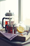 Cups of tea  with french press Royalty Free Stock Photography