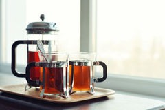 Cups of tea  with french press Royalty Free Stock Photos