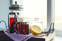 Cups of tea  with french press Stock Photos