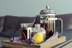 Cups of tea  with french press Stock Images